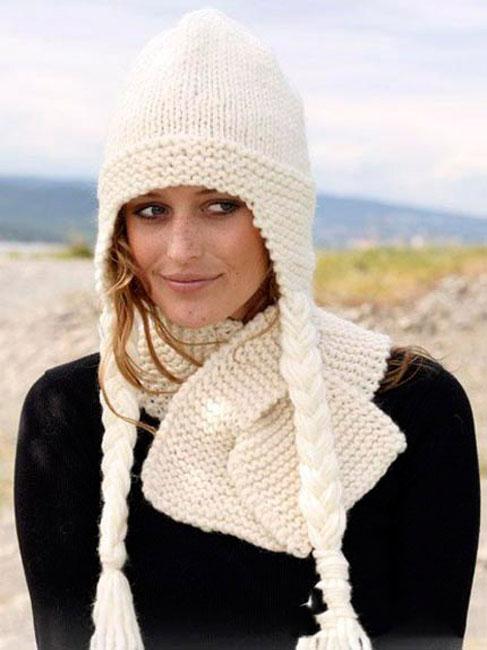 Вязание шапки с косой поперек
