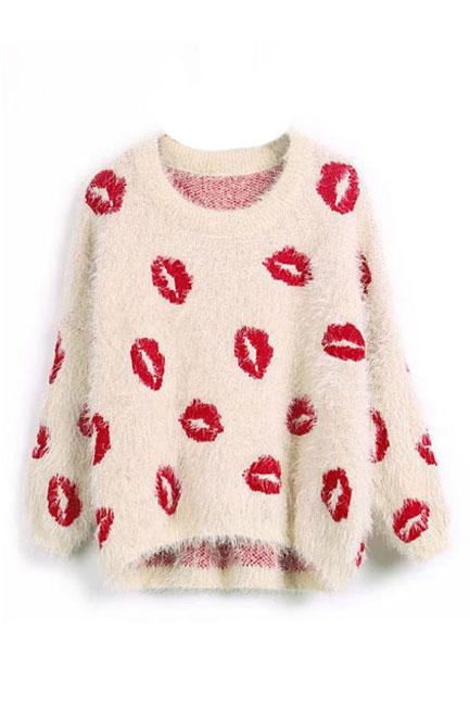 Lip-Print-Loose-Sweater