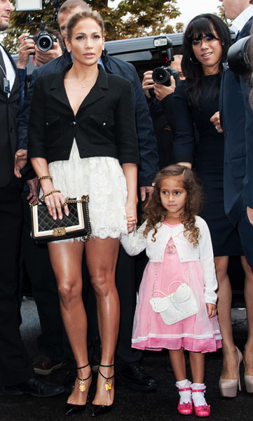 PARIS, FRANCE - OCTOBER 02: Jennifer Lopez and her daughter Emme Maribel Muniz arrive at the Chanel Spring / Summer 2013 show as part of Paris Fashion Week at Grand Palais on October 2, 2012 in Paris, France. (Photo by Francois Durand/Getty Images)