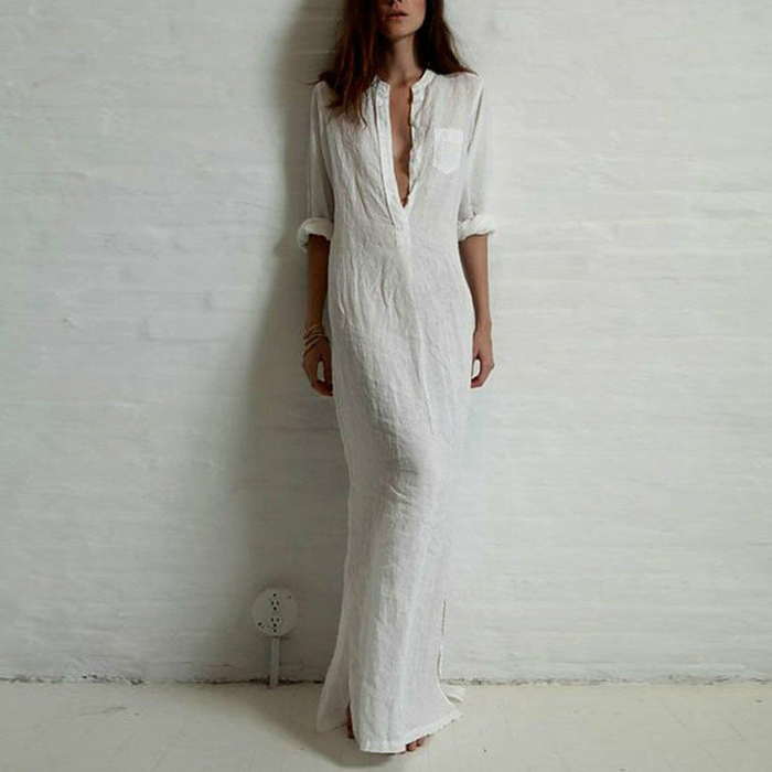 good-quality-summer-women-fashion-dresses-linen-cotton-casual-long-split-maxi-wrap-shirt-dress