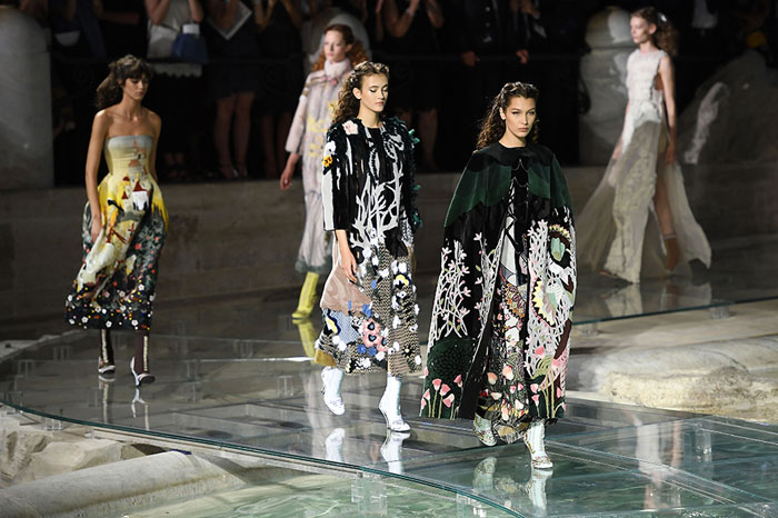 ROME, ITALY - JULY 07: Bella Hadid walks the runway at Fendi Roma 90 Years Anniversary fashion show at Fontana di Trevi on July 7, 2016 in Rome, Italy. (Photo by Venturelli/WireImage)