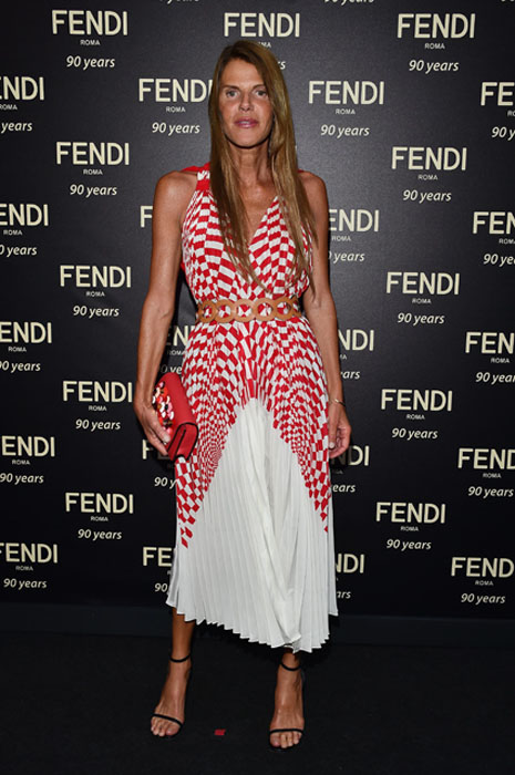 ROME, ITALY - JULY 07: Anna Dello Russo attends the Fendi Roma 90 Years Anniversary Welcome Cocktail at Palazzo Carpegna on July 7, 2016 in Rome, Italy. (Photo by Stefania D'Alessandro/Getty Images for FENDI)
