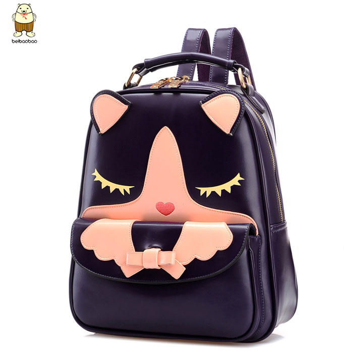 2015-new-korean-fashion-children-school-bags-kids-backpack-women-cute-cat-cartoon-leather-leisure-backpacks