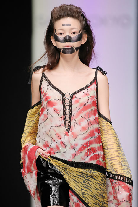 MOSCOW, RUSSIA - OCTOBER 14: A model walks the runway at the Saint-Tokyo fashion show during day two of Mercedes Benz Fashion Week Russia SS17 at Manege on October 14, 2016 in Moscow, Russia. (Photo by Oleg Nikishin/Getty Images)