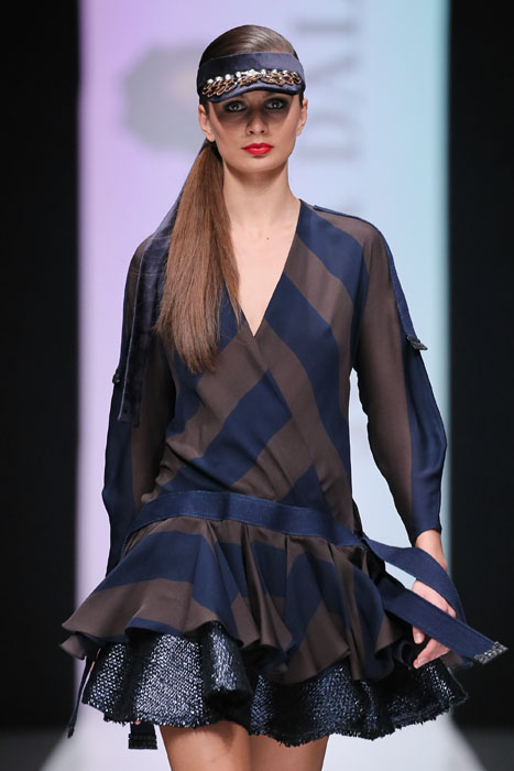 MOSCOW, RUSSIA - OCTOBER 16: A model walks the runway at the Julia Dalakian show during day four of Mercedes Benz Fashion Week Russia SS17 at Manege on October 16, 2016 in Moscow, Russia. (Photo by Oleg Nikishin/Getty Images)